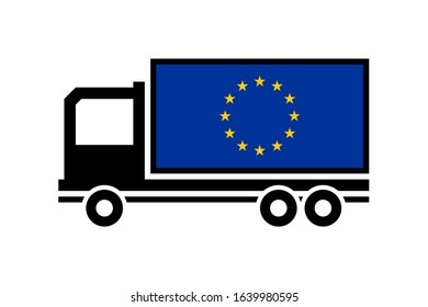 eu delivery truck isolated on white background