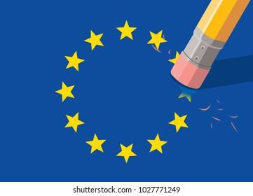 eu flag with pencil top eraser, erasing yellow stars