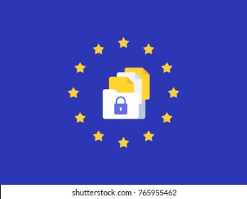 eu gdpr vector illustration. EU General Data Protection Regulation