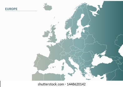 eu map. simple gradient vector countries of europe map. country in europe.