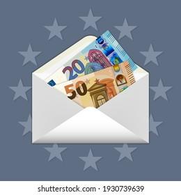 EU paper money inside a postal envelope. 50 and 20 euro banknotes