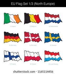EU Waving Flag Set of North European States. The set includes the flags of Ireland, Belgium, Germany, Netherlands, Denmark, Sweden, Finland, Poland and Luxembourg. Vector Icons neatly on Layers