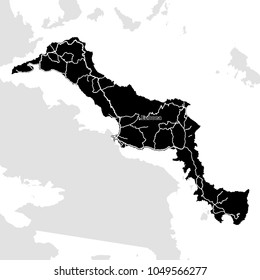 Euboea Island, Greece, Vector Map. Main White Highways on Black Background.
