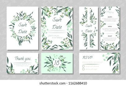 Eucalyptus Design. Wedding Invite, Menu, Rsvp, Thank You Label. Save the Date Card Templates Set with Greenery, Decorative Floral and Herbs Element. Vintage Botanical Illustration with Eucalyptus Leaf
