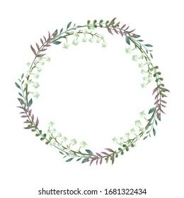 Eucalyptus fern leaves elegant greenery design border, vanilla forest circle, circle wreath beautiful cute rustic frame print. Vector garden illustration, wedding invitation