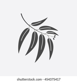 Eucalyptus icon black simple style. Singe nature icon from the big forest plant set.