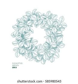 Eucalyptus leaf wreath. Vintage engraved botanical composition. Vector illustration