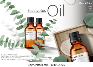 Eucalyptus oil ads, elegant natural products with green leaves in 3d illustration
