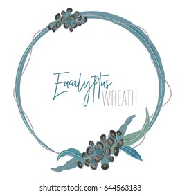 Eucalyptus Round Wreath with leaves and seeds vector