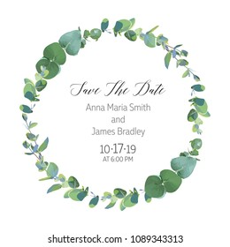 Eucalyptus selection branches vector design round frame. Rustic wedding greenery. Mint, blue tones. Watercolor style save the date card. Mediterranean tree. All elements are isolated and editable