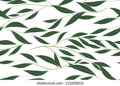 Eucalyptus Vector. Cute Seamless Pattern with Vector Leaves, Branches and Floral Elements. Elegant Cute Background for Rustic Wedding Design, Fabric, Textile, Dress. Eucalyptus Vector in Vintage Style