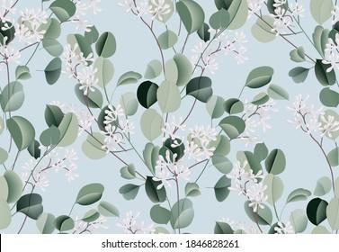 Eucalyptus watercolor leaf seamless pattern, evergreen plant, botanical illustration, dollar silver flower. Blue green wedding texture. Tropical bouquet. Boho design decoration