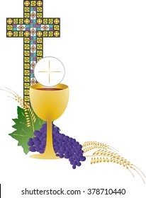 Eucharist symbol of bread and wine, chalice and host, with wheat ears wreath and grapes, with a cross. First communion illustration with stained glass cross.