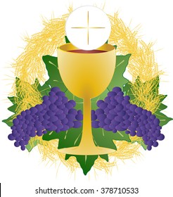 Eucharist symbol of bread and wine, chalice and host, with wheat ears wreath and grapes. First communion illustration.