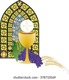 Eucharist symbol of bread and wine, chalice and host, with wheat ears wreath and grapes, with a cross. First communion illustration, with stained glass church window.