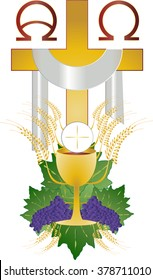 Eucharist symbol of bread and wine, chalice and host, with wheat ears wreath and grapes, with a cross. First communion illustration.