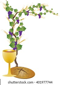 Eucharist symbols of bread and wine, chalice and host with wheat ears and vine. FIrst communion christian color vector illustration, congratulations card, with copy space for text.