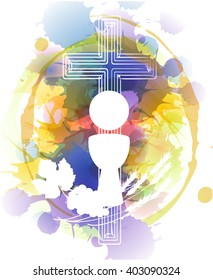 Eucharist symbols of bread and wine, chalice and host with wheat ears and grapes vine. FIrst communion christian abstract artistic color vector illustration with color splats.