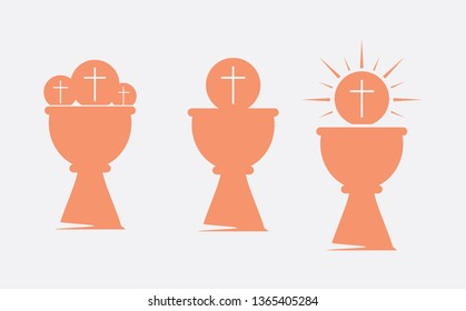 Eucharist symbols of bread and wine with the symbols of the Passion of Jesus Christ set. Holy week, Maundy thursday icons set