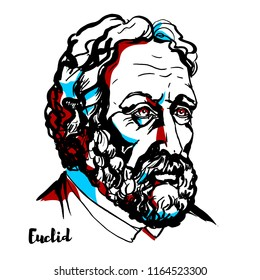 "Euclid engraved vector portrait with ink contours. Greek mathematician, often referred to as the ""founder of geometry"" or the ""father of geometry""."