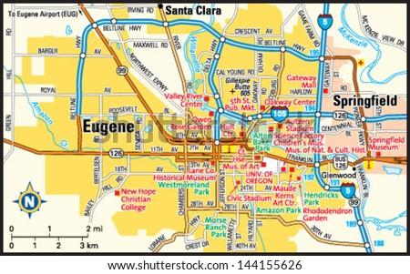 Eugene Oregon Area Map Stock Vector Royalty Free 144155626