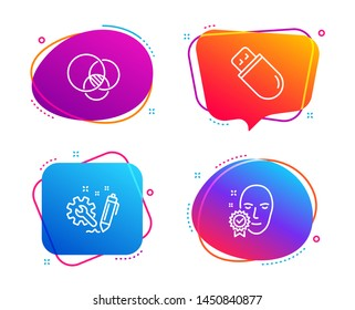 Euler diagram, Engineering and Usb stick icons simple set. Face verified sign. Relationships chart, Construction, Memory flash. Access granted. Science set. Speech bubble euler diagram icon. Vector