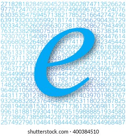 Euler's number with a shadow on a digital background. Mathematical constant, decimal irrational number, base of the natural logarithm. Abstract digital vector illustration. Napier's constant.