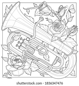 Euphonium. Wind musical instrument.Coloring book antistress for children and adults. Illustration isolated on white background.Zen-tangle style. - Shutterstock ID 1836347476
