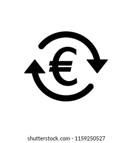 EUR Symbol circled by two arrows, Money flow,Euro Exchange, Circulation, Vector illustration
