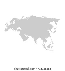 Eurasia continent. Gray vector template.