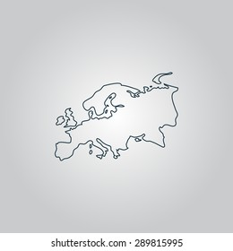 Eurasia map. Flat web icon, sign or button isolated on grey background. Collection modern trend concept design style vector illustration symbol