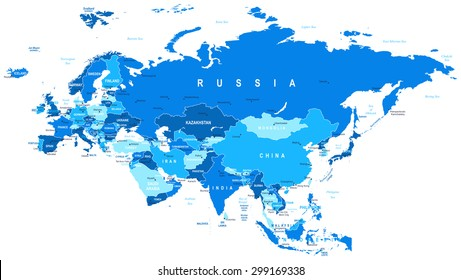Eurasia map - highly detailed vector illustration