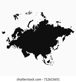 Eurasia map. Monochrome shape. Vector illustration.
