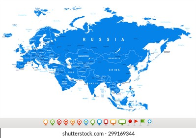 Eurasia - map and navigation icons - illustration