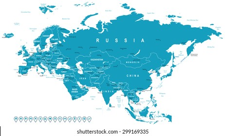 Eurasia - map and navigation labels - illustration