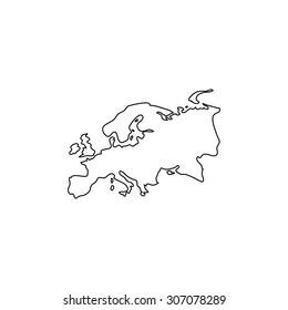 Eurasia map. Outline black simple vector pictogram