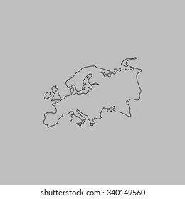 Eurasia map. Outlne vector icon on grey background