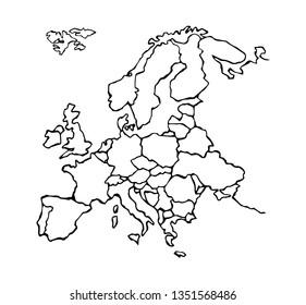 Eurasia. North island district plan shape on white backdrop. Freehand line black ink hand drawn web flat logo emblem frame. Travel concept design in art modern grunge doodle cartoon style pen on paper