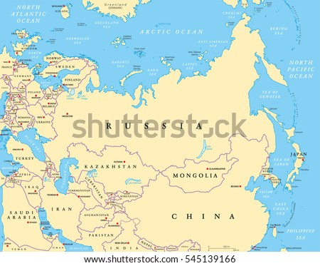 Map Of Asia Europe Border.Eurasia Political Map Capitals National Borders Stock Vector