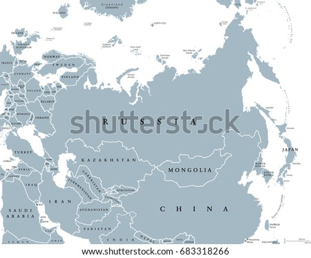 Eurasia Political Map Countries Borders Combined Stock Vector ...