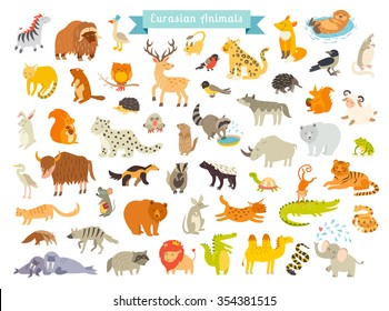 Eurasian animals vector illustration. Eurasian mammals. The most complete big vector set of mammals in Eurasia. Also, birds, reptiles. Isolated on white background. Eurasian animals art