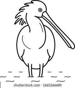 Eurasian Spoonbill. Vector outline icon.
