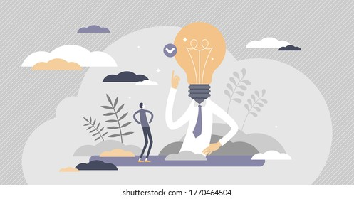 Eureka or AHA moment as idea solution discovery flat tiny persons concept. Innovation breakthrough abstract scene vector illustration. Creativity business invention businessman with light bulb in head