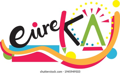 Eureka concept, playful and multi-colored shape representing the eureka moment, colorful vector, idea, icon for a fun business.