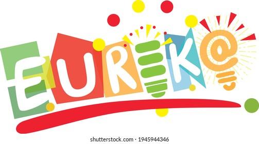 Eureka moment, creative and thinking, idea, thinking, brainstorm, success icon, playful and multi-colored shape representing Eureka