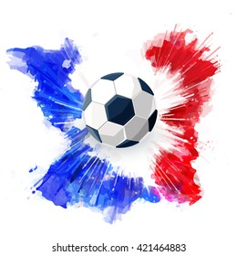 Euro 2016 France football championship.Soccer ball and Watercolor ink.Vector isolate soccer concept. Sport football background.