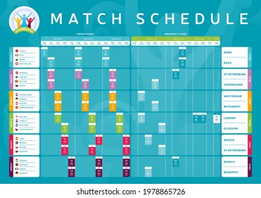 Euro 2020 match schedule tournament final stage. Wall chart Match schedule, knockout template football results table, flags of European countries football championship euro 2021, vector illustration