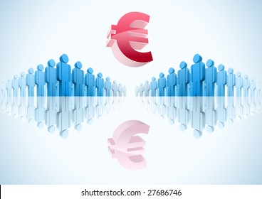 Euro. 3d vector group of people illustration