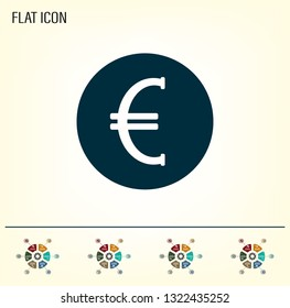 Euro badge in black circle, vector icon.