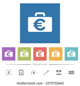 Euro bag flat white icons in square backgrounds. 6 bonus icons included.